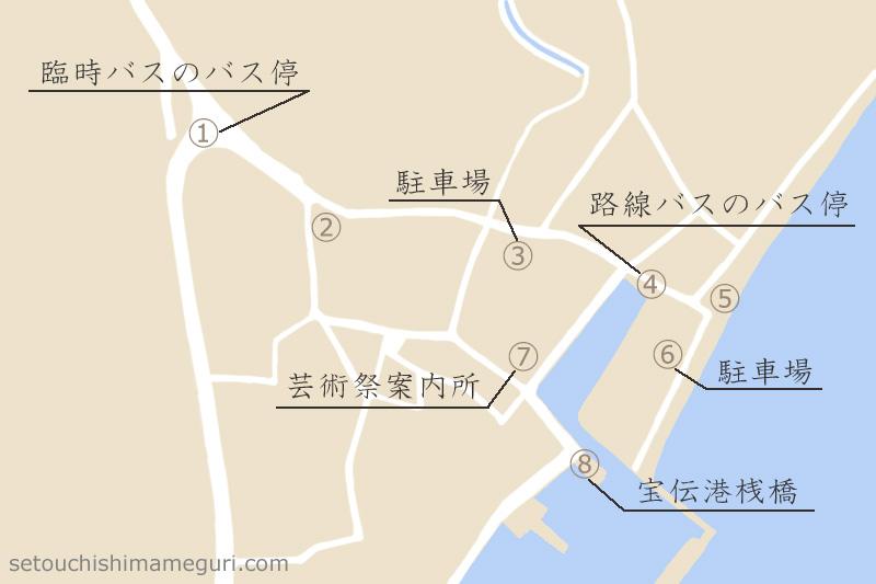 宝伝港と周辺の地図
