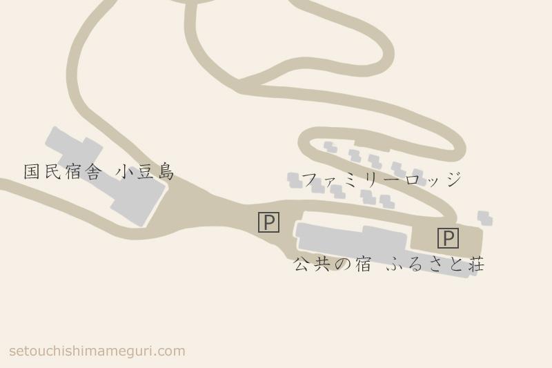 国民宿舎 小豆島の宿泊棟配置地図