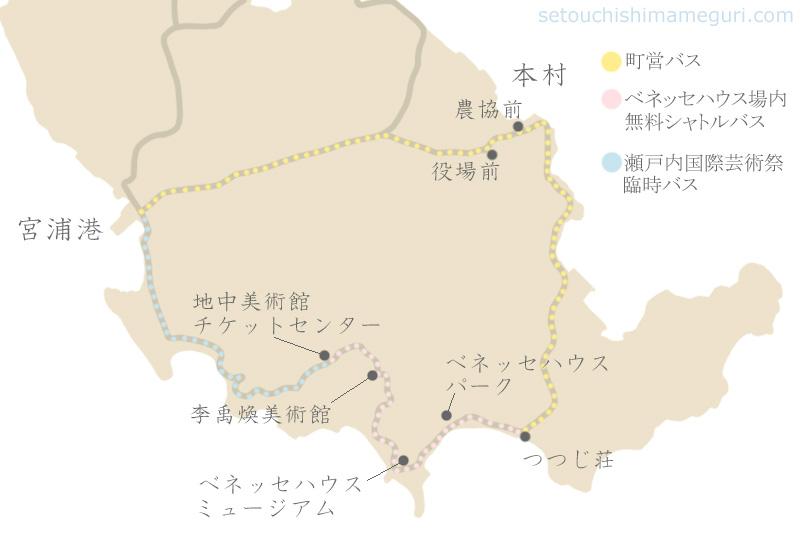 直島島内のバスルート