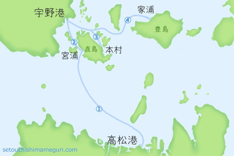 直島へのフェリー・高速艇の航路
