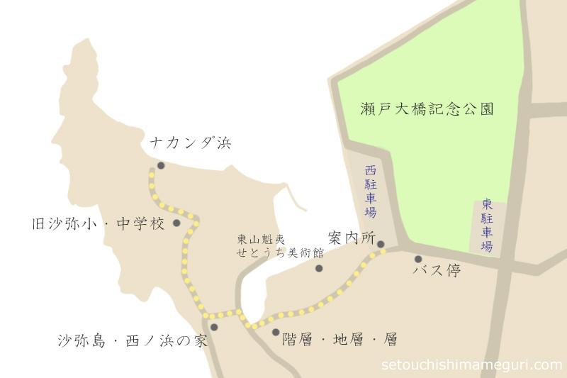 沙弥島の地図
