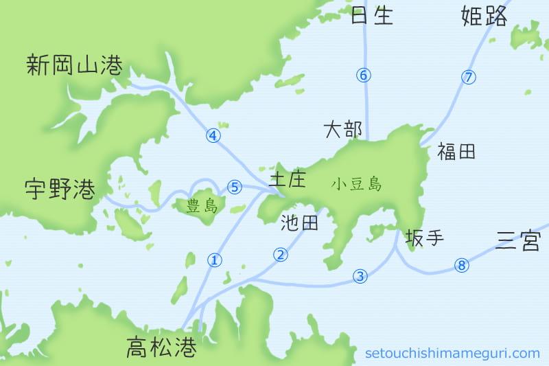 小豆島へのフェリー・高速艇の航路