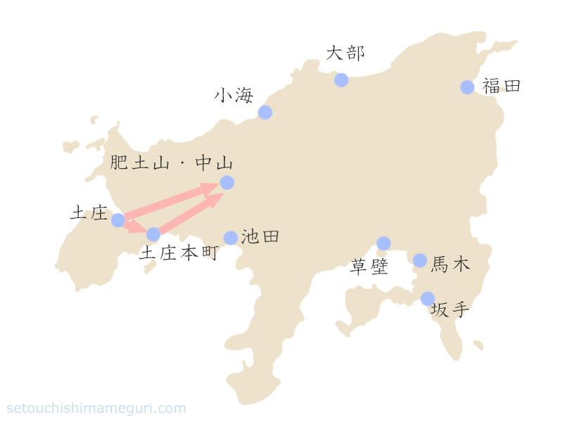 瀬戸内国際芸術祭2010 土庄本町・中山・肥土山の作品鑑賞マップ