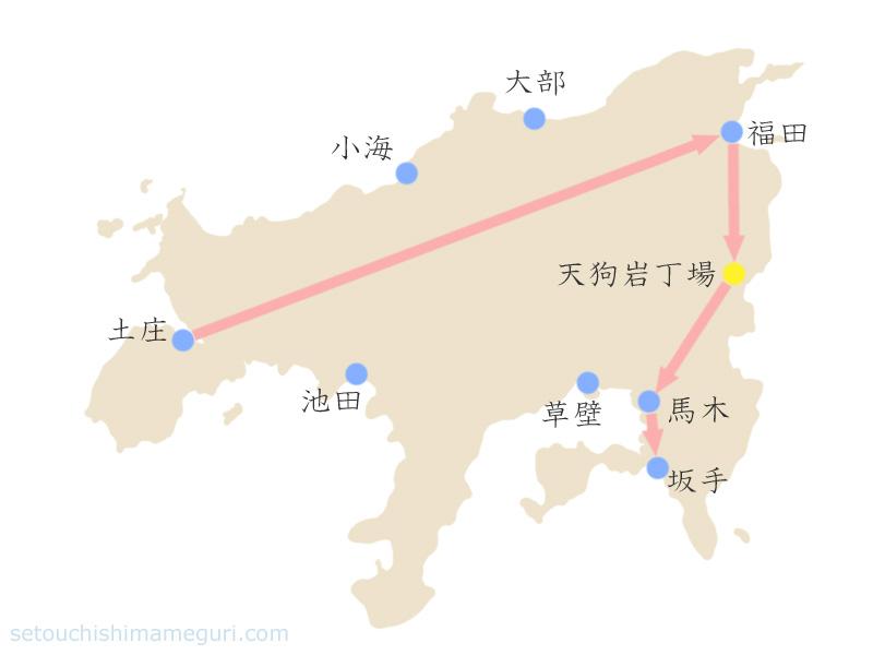 瀬戸内国際芸術祭2013 福田・馬木・坂手の作品鑑賞マップ