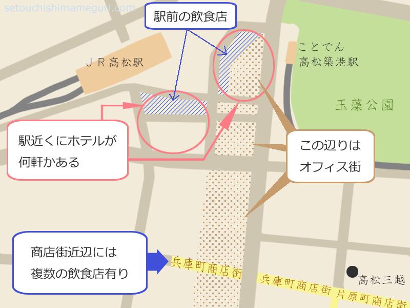 高松駅から商店街あたりの環境