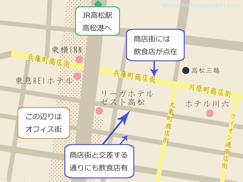 高松中央商店街近くのホテル
