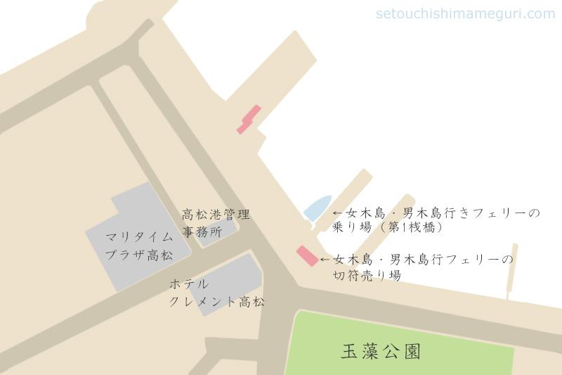高松港の女木島・男木島行きフェリーの切符売り場と桟橋