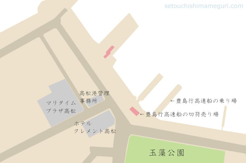 高松港 豊島行き高速船の切符売り場と桟橋