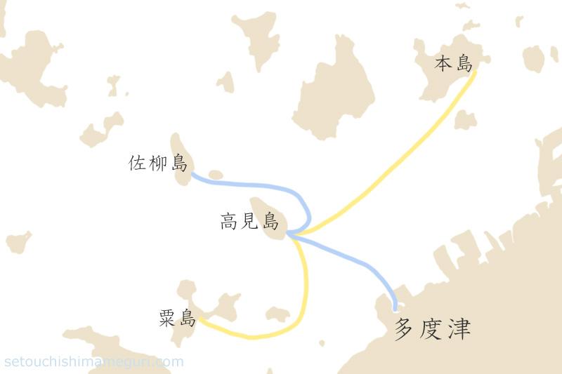 高見島 佐柳島への航路