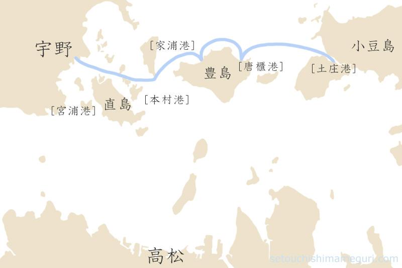 宇野-豊島-小豆島へのフェリー・高速船の航路