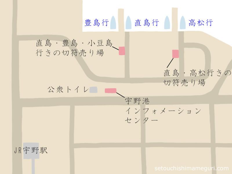 宇野港の地図
