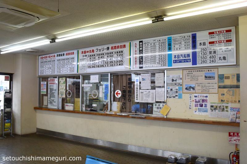 丸亀港 本島行きの切符売り場