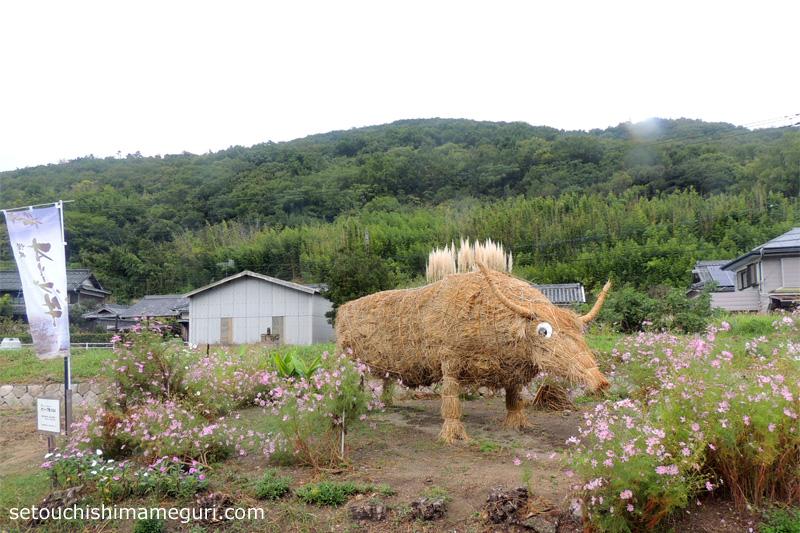小豆島 三都半島 わらアートのオリーブ牛